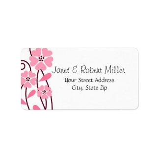 Pink Flowers : : Designer Address Labels