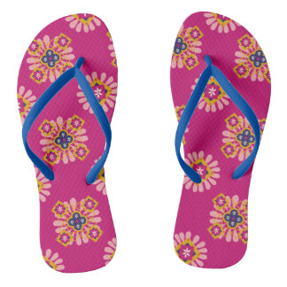 Pink Flowers Effect Thongs