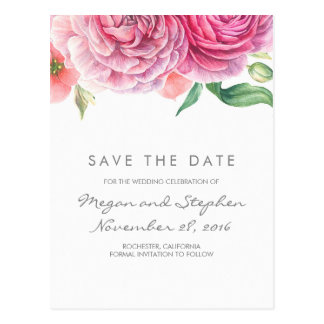 Pink Flowers Elegant and Romantic Save the Date Postcard