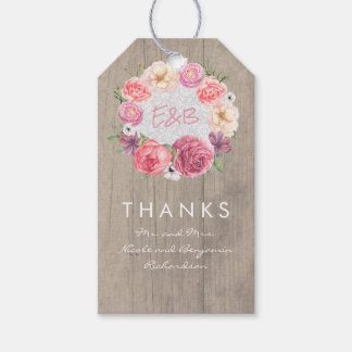 Pink Flowers Elegant Watercolors Wreath Gift Tags