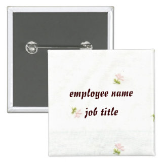 Pink Flowers Employee Name Tag Button