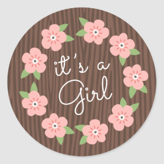Pink flowers floral wreath it s a girl baby shower sticker