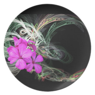 Pink Flowers & Fractals ~  Plate