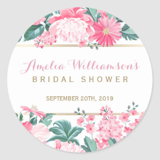 Pink Flowers & Gold Border | Bridal Shower Classic Round Sticker