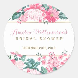 Pink Flowers & Gold Border | Bridal Shower Round Sticker