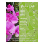 Pink flowers green holistic health price list posters