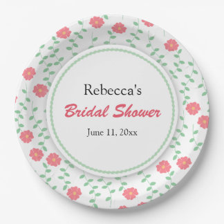Pink Flowers & Green Leaves Bridal Shower 9 Inch Paper Plate