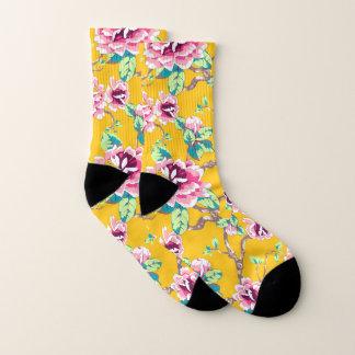 Pink Flowers Green Leaves on Yellow Socks
