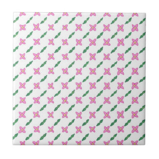 Pink Flowers Green Leaves Pattern Tile Trivet