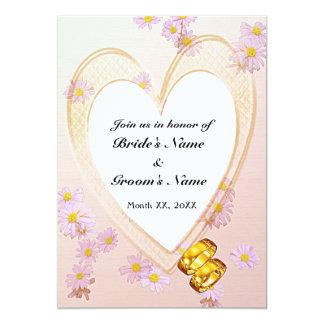 Pink Flowers, Heart Frame, Rings Rehearsal Dinner 13 Cm X 18 Cm Invitation Card