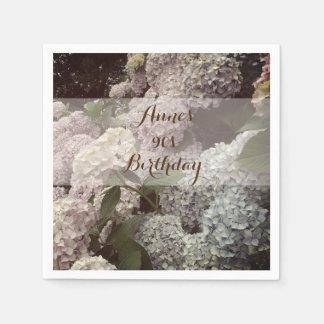 Pink Flowers Hydrangea  90th Birthday Napkins Disposable Serviettes
