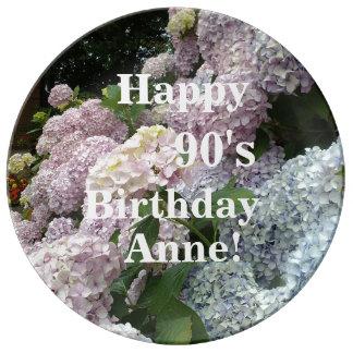 Pink Flowers Hydrangea  90th Birthday Plate
