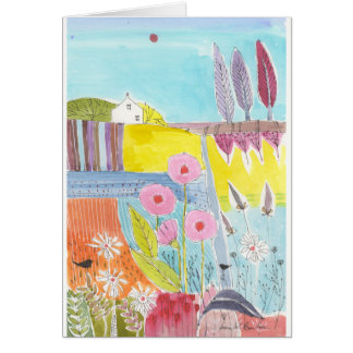 Pink Flowers in a Field Card