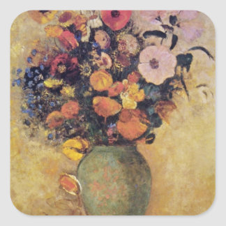 Pink Flowers in a Green Vase, Odilon Redon flowers Square Sticker