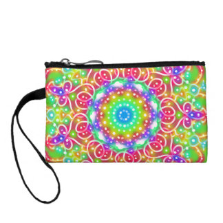 Pink Flowers Key Coin Clutch Change Purses