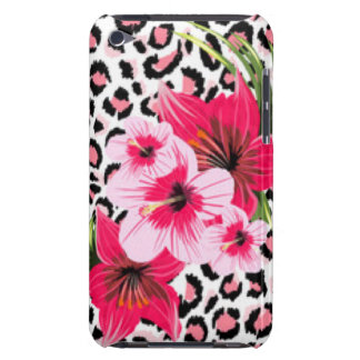Pink Flowers & Leopard Pattern Print Design Barely There iPod Covers