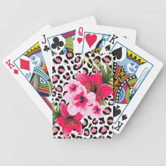 Pink Flowers & Leopard Pattern Print Design Bicycle Playing Cards
