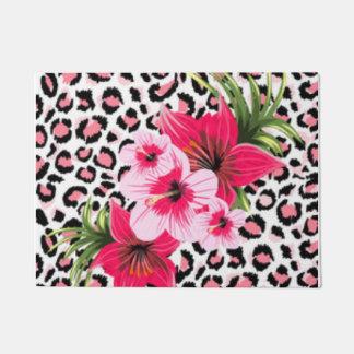 Pink Flowers & Leopard Pattern Print Design Doormat