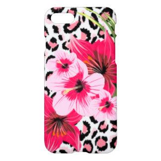 Pink Flowers & Leopard Pattern Print Design iPhone 8/7 Case