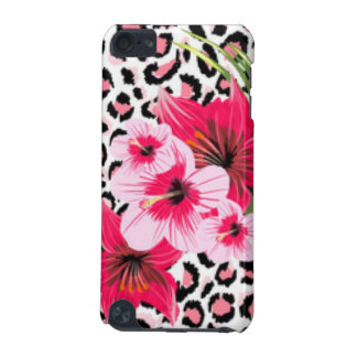 Pink Flowers & Leopard Pattern Print Design iPod Touch (5th Generation) Cases