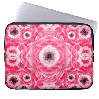 Pink Flowers Mandala Computer Sleeve