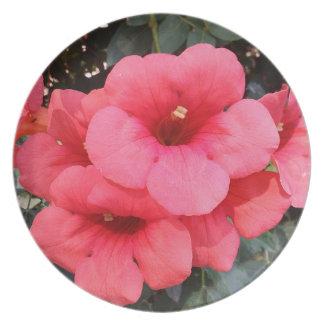 Pink Flowers Melamine Plate