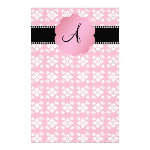Pink flowers monogram diamonds personalized stationery
