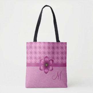 Pink Flowers Monogram Tote Bag