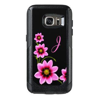 Pink Flowers Monogrammed Otterbox Samsung S7 Case