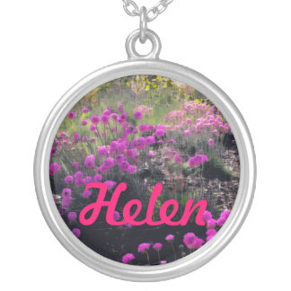 Pink Flowers Name Necklace