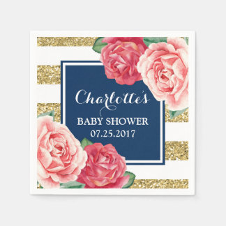Pink Flowers Navy Blue Gold Stripes Baby Shower Paper Napkin