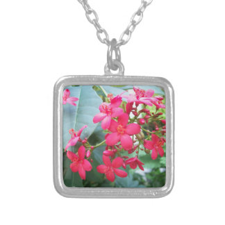 Pink Flowers Square Pendant Necklace
