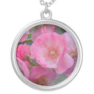 Pink Flowers Round Pendant Necklace