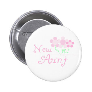 Pink Flowers New Aunt 6 Cm Round Badge
