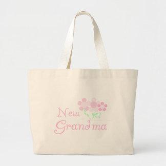 Pink Flowers New Grandma Large Tote Bag
