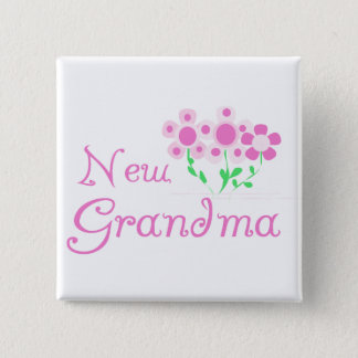 Pink Flowers New Grandma Tshirts and Gifts 15 Cm Square Badge