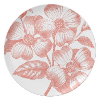 Pink Flowers on a Branch Party Plates