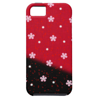 Pink flowers on a red and black background Case-Ma iPhone 5 Cases