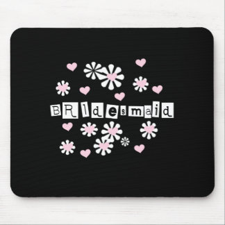 Pink Flowers on Black Bridesmaid   Mouse Pad