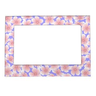 Pink Flowers on Blue - Frame Photo Frame Magnet