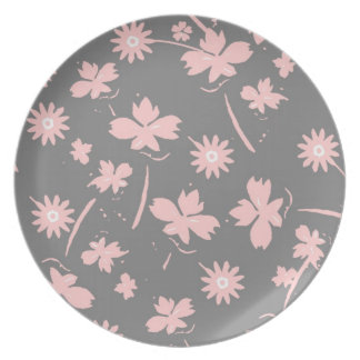 Pink Flowers on Gray Dinner Plate