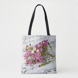 pink flowers on music tote bag