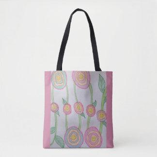 Pink flowers on vine tote bag