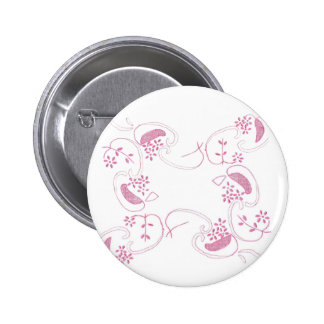 Pink Flowers On White 6 Cm Round Badge