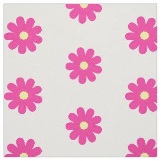 Pink Flowers on White Cute Kids Pattern Fabric