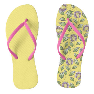 pink flowers on yellow background thongs