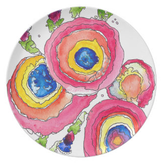 Pink Flowers Party Plates