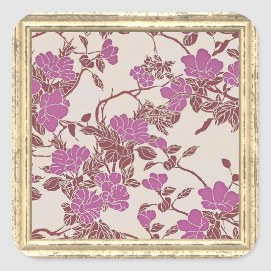 Pink  Flowers Pattern Square Sticker