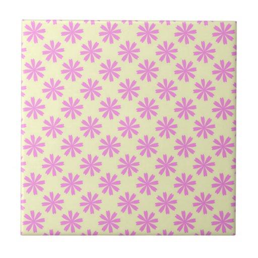 Pink flowers pattern ceramic tiles
