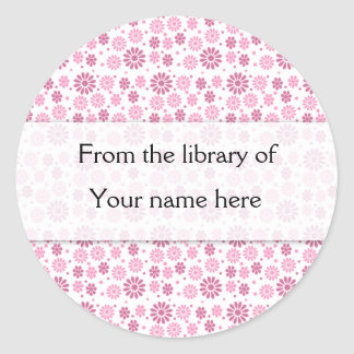 Pink Flowers Personalized Bookplates Round Sticker